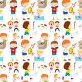 Seamless background design with kids playing Stock Image