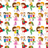Seamless background design with many children Stock Images