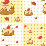 Seamless background design with strawberry cakes. Illustration Royalty Free Stock Photography