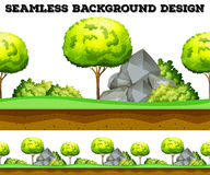 Seamless background design with tree and lawn stock illustration