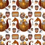 Seamless background design with viking theme. Illustration Stock Photos