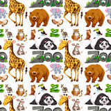 Seamless background design with wild animals Stock Images