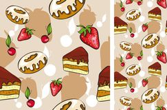 Seamless background with desserts Royalty Free Stock Images