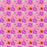 Seamless background of different flowers Orchid. On a pink background Royalty Free Stock Image