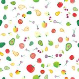 Seamless background of different fresh fruits and vegetables on white background. royalty free illustration