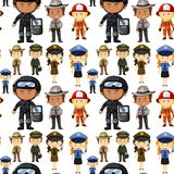 Seamless background with different kinds of jobs. Illustration Royalty Free Stock Images