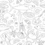 Seamless background with different marine animals and fishes. Stock Photography