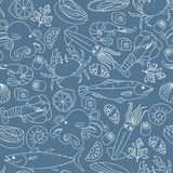 Seamless background with different marine animals and fishes. Stock Photos