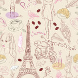 Seamless background with different Paris elements Stock Photo