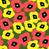 Seamless background with different poppies Royalty Free Stock Photography