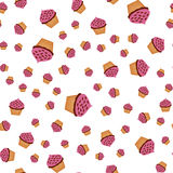Seamless background with different size of drawn muffins Stock Image