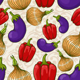 Seamless background with different vegetables Royalty Free Stock Photography