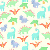 Seamless background with dinosaurs in cartoon style. Four species of dinosaur and palm tree Royalty Free Stock Images