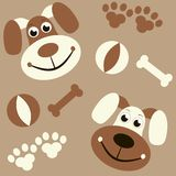 Seamless background with dogs, paws and bones Royalty Free Stock Images