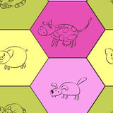 Seamless background with domestic animal kids drawing Royalty Free Stock Photography