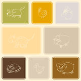 Seamless background with domestic animal kids drawing Stock Photo