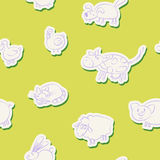 Seamless background with domestic animal kids drawing Stock Images