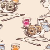 Seamless background of donuts and drinks for a breakfast stock illustration