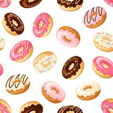 Seamless background with donuts. Vector illustration. Stock Photos