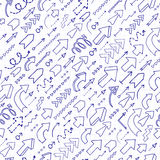 Seamless background of doodle arrows. Royalty Free Stock Images
