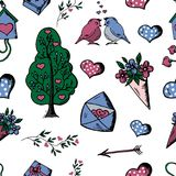 Seamless background. Doodle, Set of Hand Drawn objects Valentin Stock Photos