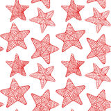 Seamless background with doodle star. Royalty Free Stock Image