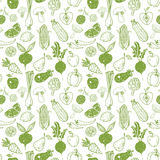 Seamless background with doodle vegetables and fruits. Vector sketch illustration Stock Image