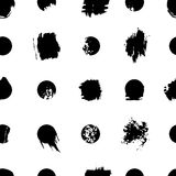 Seamless background with dots and art spots. Black and white pattern. Seamless background with dots and art spots. Black and white art brush pattern Royalty Free Stock Photos