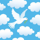 Seamless background with dove in clouds Stock Photography