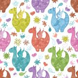 Seamless background, Dragons. Seamless background, cartoon colorful Dragons, flowers and hearts royalty free illustration