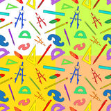Seamless background of drawing accessories on different colors Royalty Free Stock Image