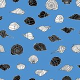 Vector pattern of the different sea shells Royalty Free Stock Photos