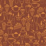 Seamless background with drinks and desserts Stock Images