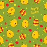 Seamless  background with Easter chickens. Royalty Free Stock Photo