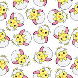 Seamless background of Easter illustration with cute pink baby chick on white background Stock Image
