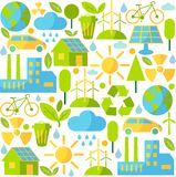 Seamless background with ecology icons. Simple multicolor seamless background with many icons on ecology theme Stock Photo