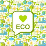 Seamless background with ecology icons. Simple multicolor seamless background with many icons on ecology theme Stock Image