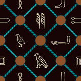 Seamless background with Egyptian hieroglyphs Royalty Free Stock Images