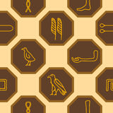 Seamless background with Egyptian hieroglyphs Royalty Free Stock Photography