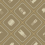Seamless background with electronic components icons Stock Photo