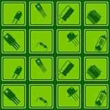 Seamless background with electronic components icons Royalty Free Stock Photos
