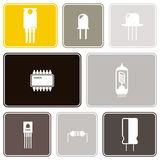 Seamless background with electronic components icons Royalty Free Stock Photography