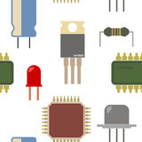 Seamless background with electronic components icons Royalty Free Stock Image