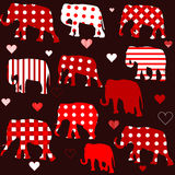 Seamless background with elephants and hearts Royalty Free Stock Photography