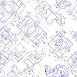 Seamless background of engineering drawings of parts. Vector Royalty Free Stock Photography