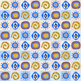 Seamless background with ethnic patterns in the boxes. Seamless background with a ethnic patterns in the boxes Royalty Free Stock Image