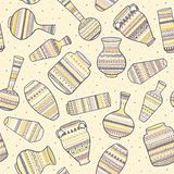 Seamless background with ethnic patterns on vases. Vector illustration. royalty free illustration