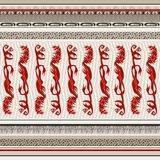 Seamless background in ethnic style with red monsters. Seamless background with red monsters. This is done with elements of ethnicity. There is a vector format royalty free illustration