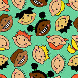 Seamless background with faces of children of different nationalities Stock Illustration
