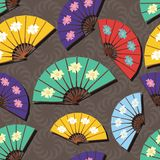 Seamless background with fans Royalty Free Stock Image